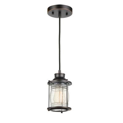 Bayfield 1-Light Dark Bronze Plug-In or Hardwire Pendant Lighting with Ribbed Seeded Glass Shade