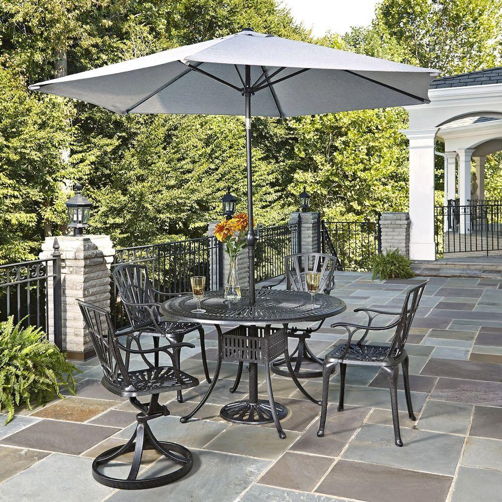 home styles largo 48 in 5 piece patio dining set with umbrella 5560 32586 the home depot. Black Bedroom Furniture Sets. Home Design Ideas