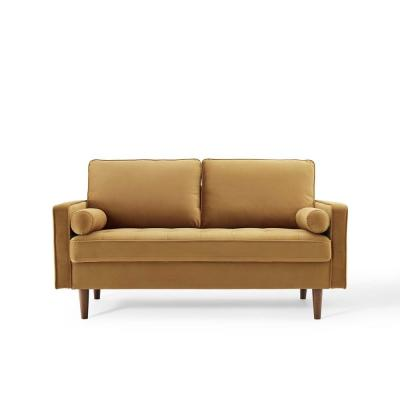 Valour 61.5 in. Cognac Velvet 3-Seater Loveseat with Removable Cushions