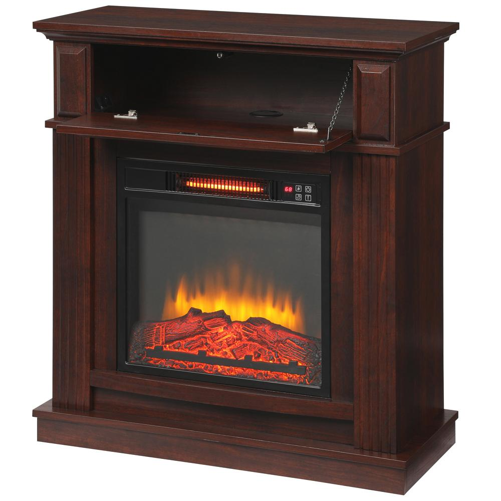 Parksley 31 in. Freestanding Compact Infrared Electric Fireplace in Cherry