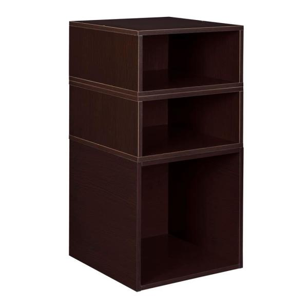 Regency 26 In H X 13 In W X 13 In D Truffle Wood 3 Cube Storage Organizer Hdchpc1f2htf The Home Depot