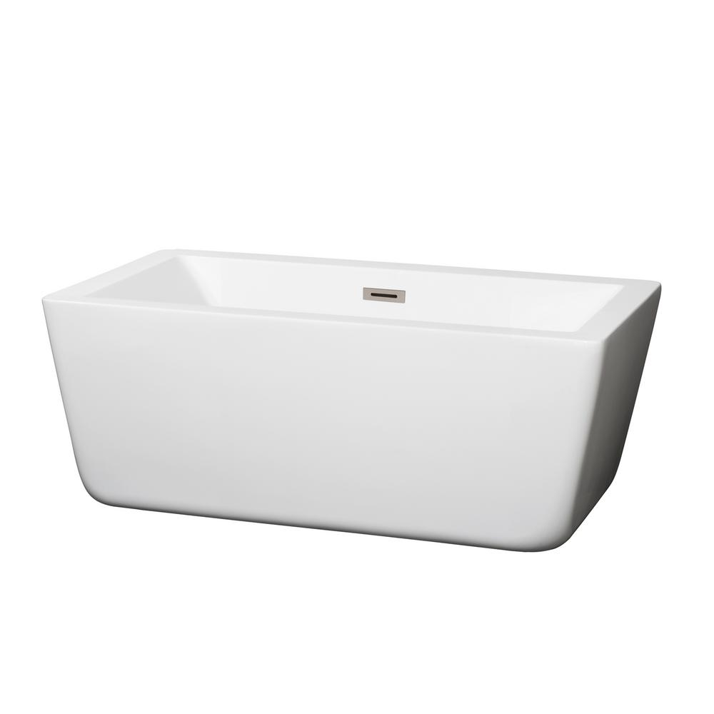 Wyndham Collection Laura 4.92 ft. Center Drain Soaking Tub in White
