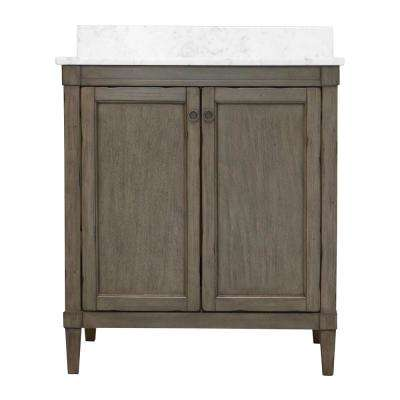 Rosecliff 31 in. W x 22 in. D Vanity in Distressed Grey with Marble Vanity Top in Carrara White with White Sink