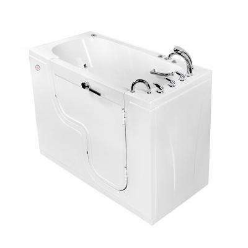 Wheelchair Transfer 60 in. Acrylic Walk-In Whirlpool and Air Bath Bathtub in White, Faucet, Heated Seat, RHS Dual Drain