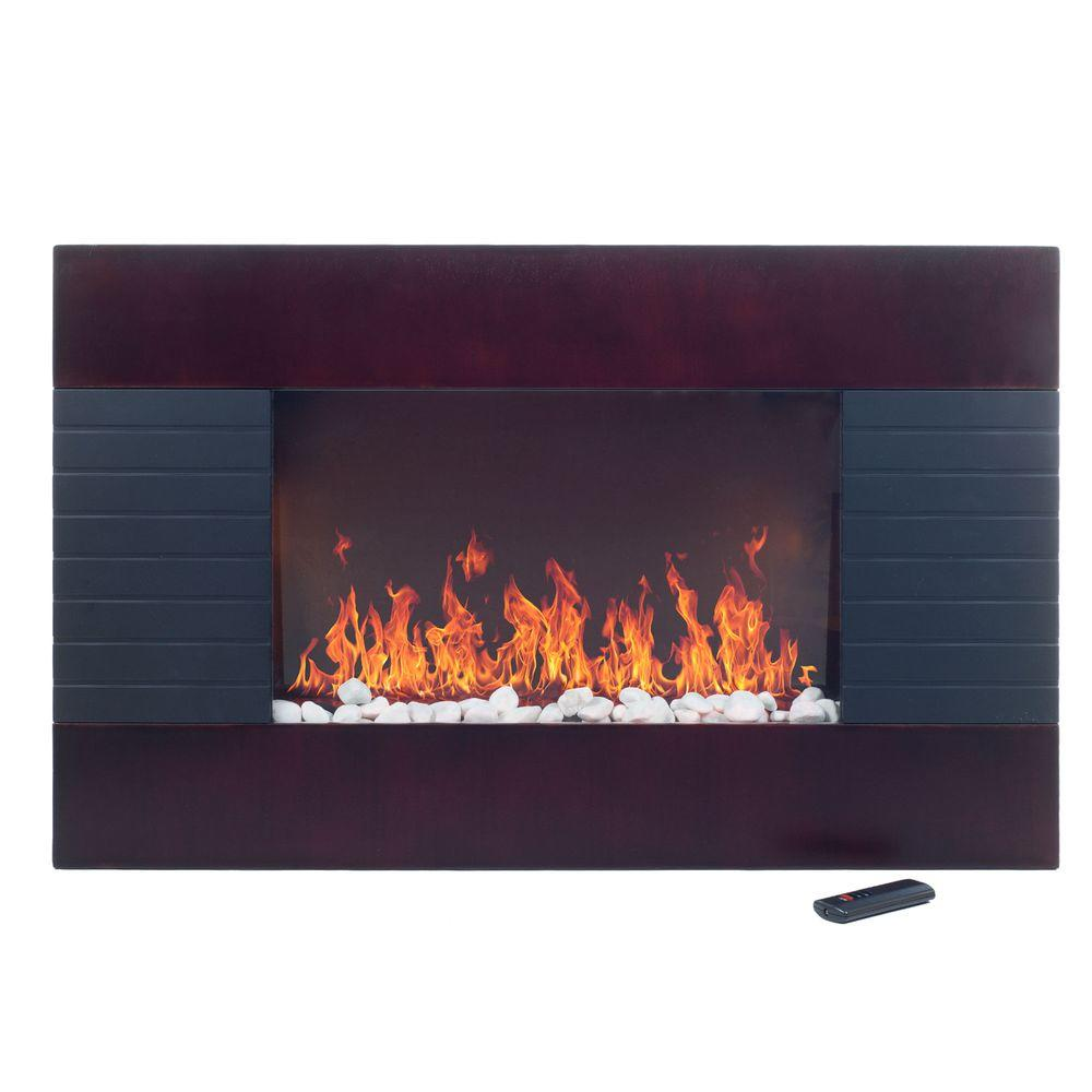 Even Glow 35 in. Electric Fireplace Heater in Mahogany Wood Trim