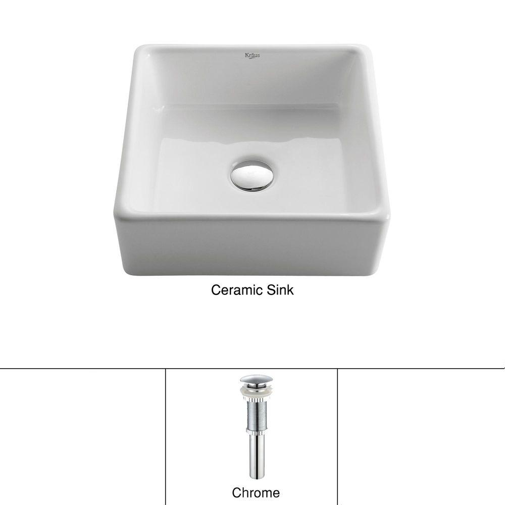 KRAUS Square Ceramic Vessel Bathroom Sink in White with Pop Up Drain in Chrome