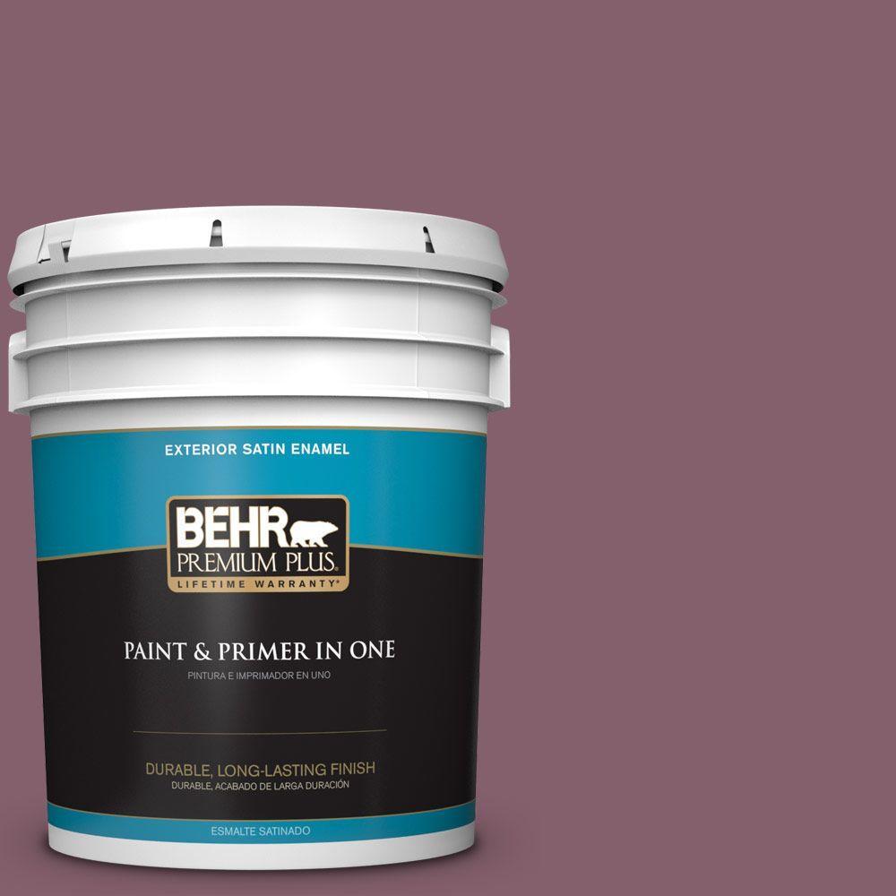 5-gal. #BIC-35 Vintage Plum Satin Enamel Exterior Paint