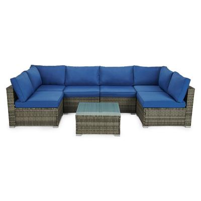 7-Pieces Rattan Patio Conversation Set Sectional Seating Group with Blue Cushions