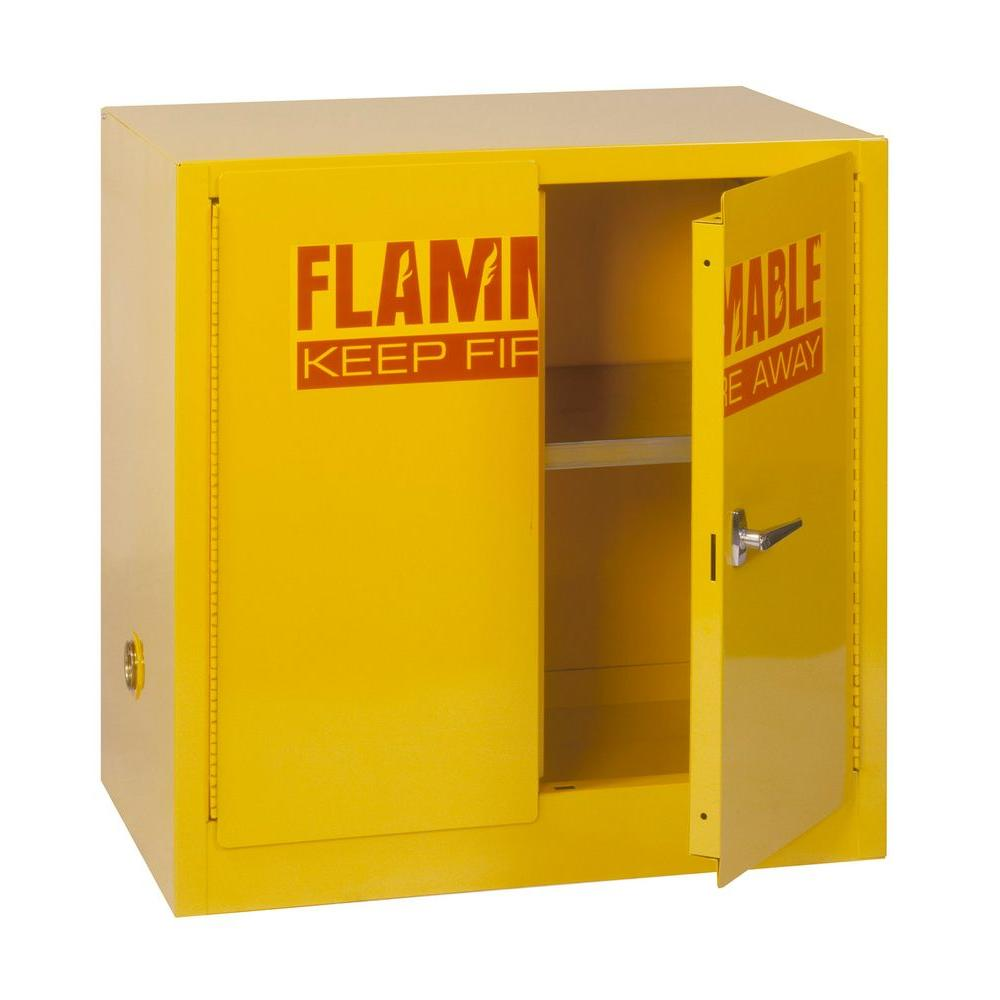 D Steel Freestanding Flammable Liquid Safety Double Door Storage Cabinet In  Yellow SC22F   The Home Depot