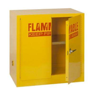 35 in. H x 35 in.W x 22 in. D Steel Freestanding Flammable Liquid Safety Double-Door Storage Cabinet in Yellow