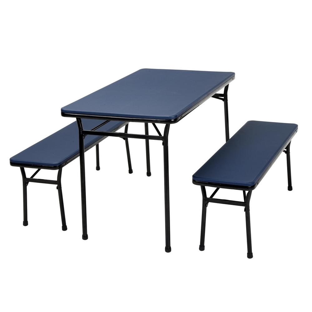 3 Piece Dark Blue Portable Outdoor Safe Folding Table Bench Set
