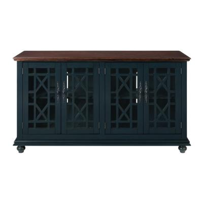 Palisades TV Stand, Catalina Blue with Coffee Top