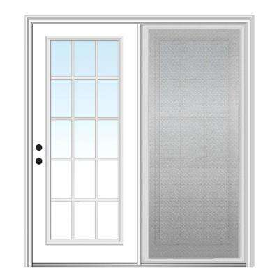 64 in. x 80 in. Primed Fiberglass Prehung Right Hand Grilles Between Clear Glass 15-Lite Hinged Patio Door with Screen