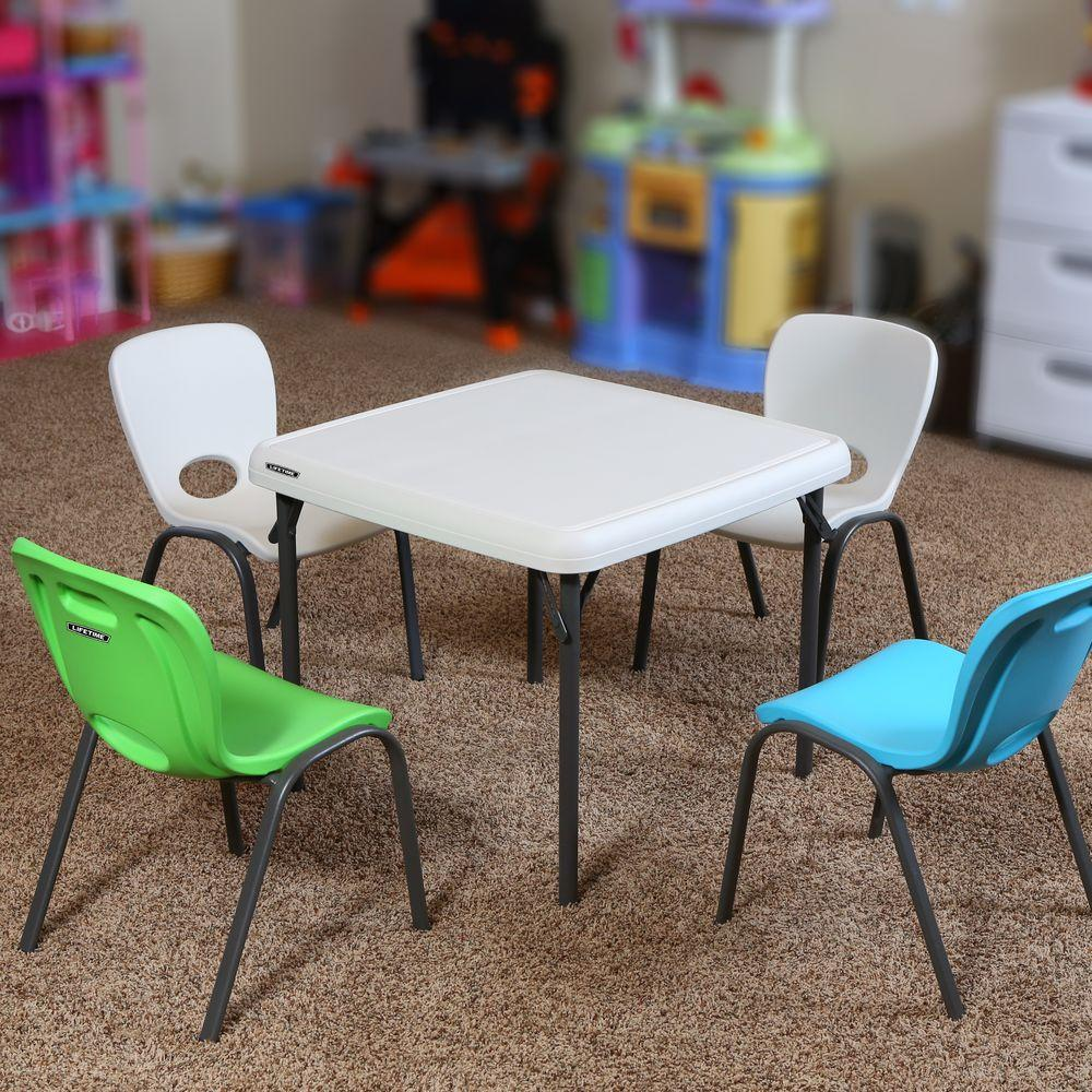 Lifetime 5 Piece Almond Children S Table And Chair Set 80437 The