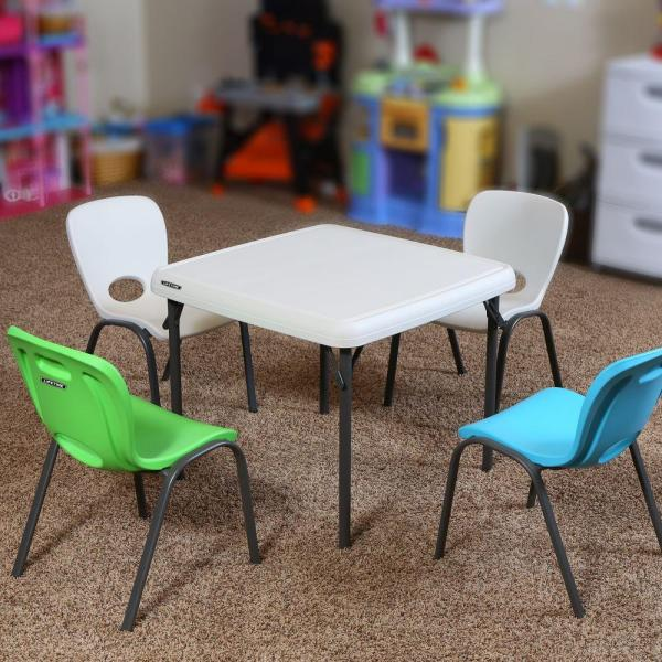 Lifetime 5 Piece Lime Green And Almond Children S Table