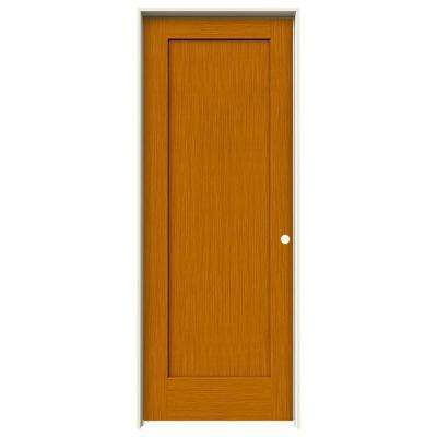 30 in. x 80 in. Madison Saffron Stain Left-Hand Solid Core Molded Composite MDF Single Prehung Interior Door