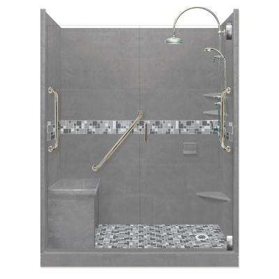 Newport Freedom Luxe Hinged 32 in. x 60 in. Right Drain Alcove Shower in Wet Cement and Chrome Faucet/Hardware