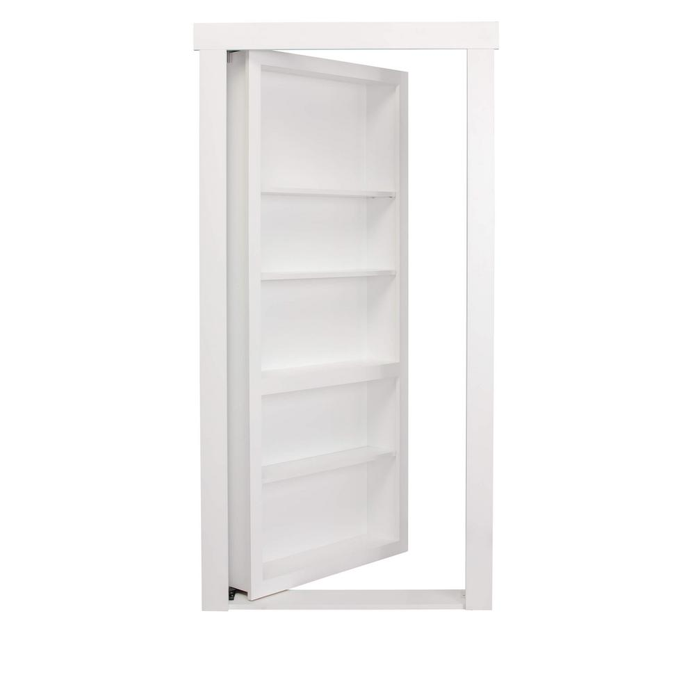The Murphy Door 36 In X 80 In Assembled White Painted Flush Mount Bookcase Wood Single Prehung