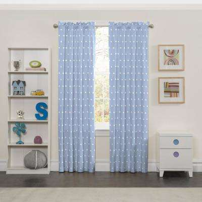 Blackout Cozy Cumulus 84 in L Blue Rod Pocket Curtain