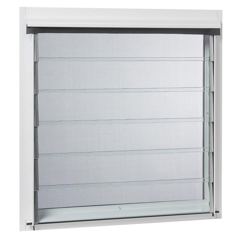 TAFCO WINDOWS 32 in. x 17.375 in. Jalousie Utility Louver Awning Aluminum Screen Window in White
