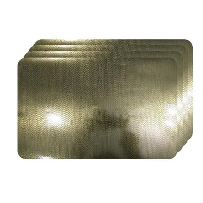 Crocodile Skin Champagne Metallic Textured Placemat (Set of 4)