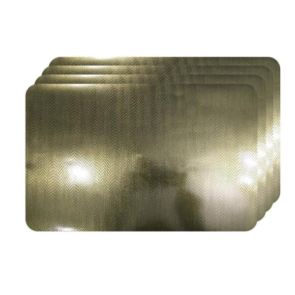 Dainty Home Crocodile Skin Champagne Metallic Textured Placemat (Set of 4)