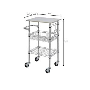 StyleWell Gatefield Chrome Small Kitchen Cart with Stainless ...