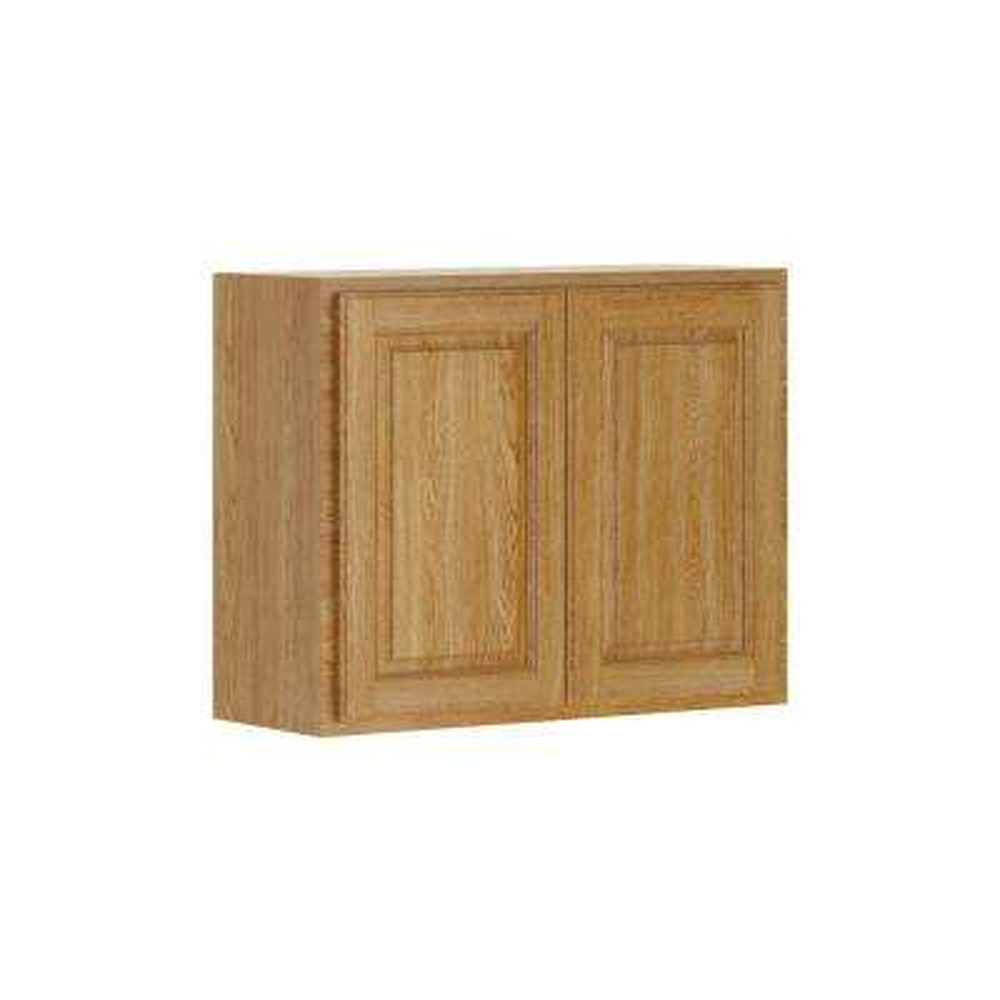 Madison Assembled 30x24x12 in. Wall Bridge Cabinet in Medium Oak