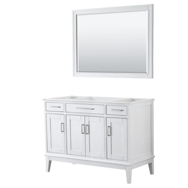 Margate 47 in. W x 21.5 in. D Bath Vanity Cabinet Only with 44 in. Mirror in White