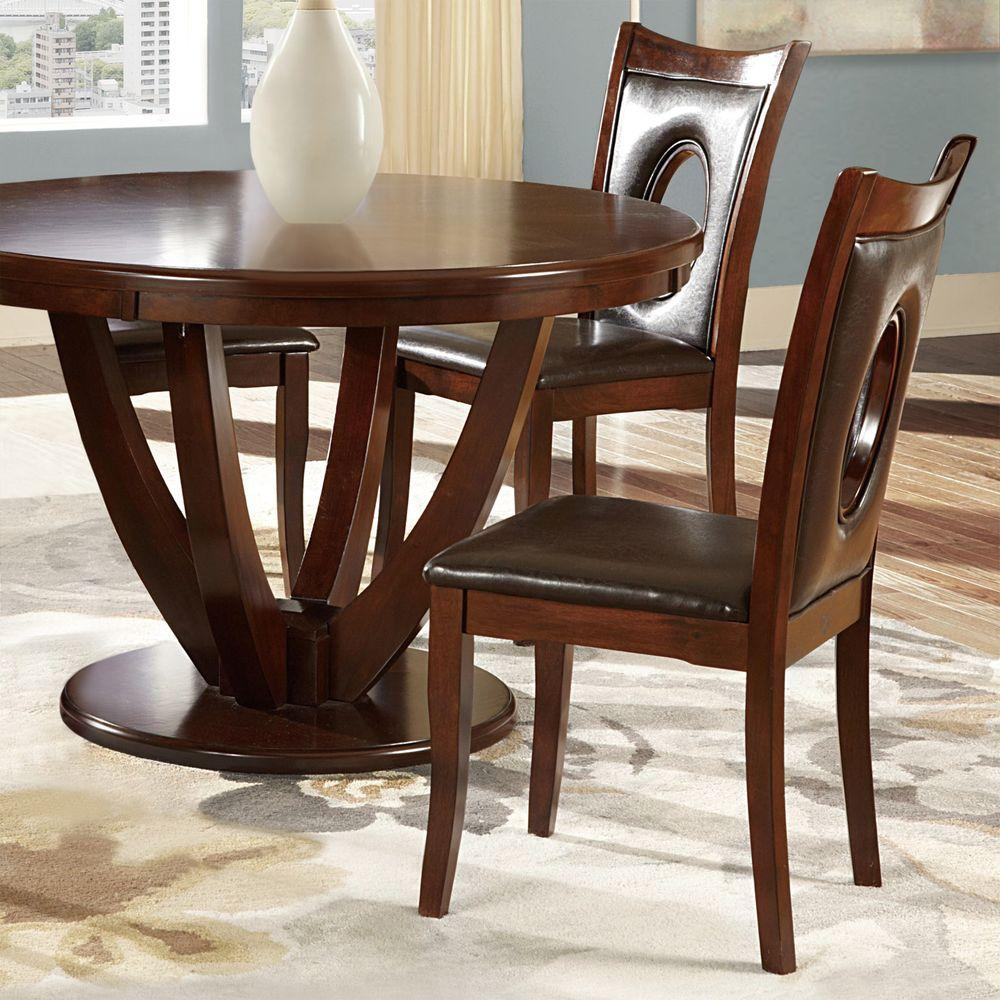 holmes brown faux leather dining chair set of the home depot