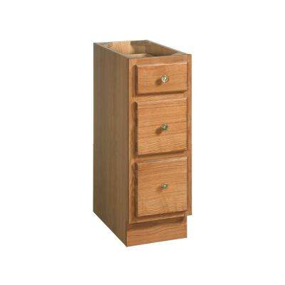 Richland 12 in. W Three Drawer Floor Cabinet in Nutmeg Oak
