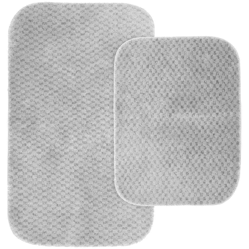 Cabernet Platinum Gray 21 in. x 34 in. Washable Bathroom 2-Piece Rug Set