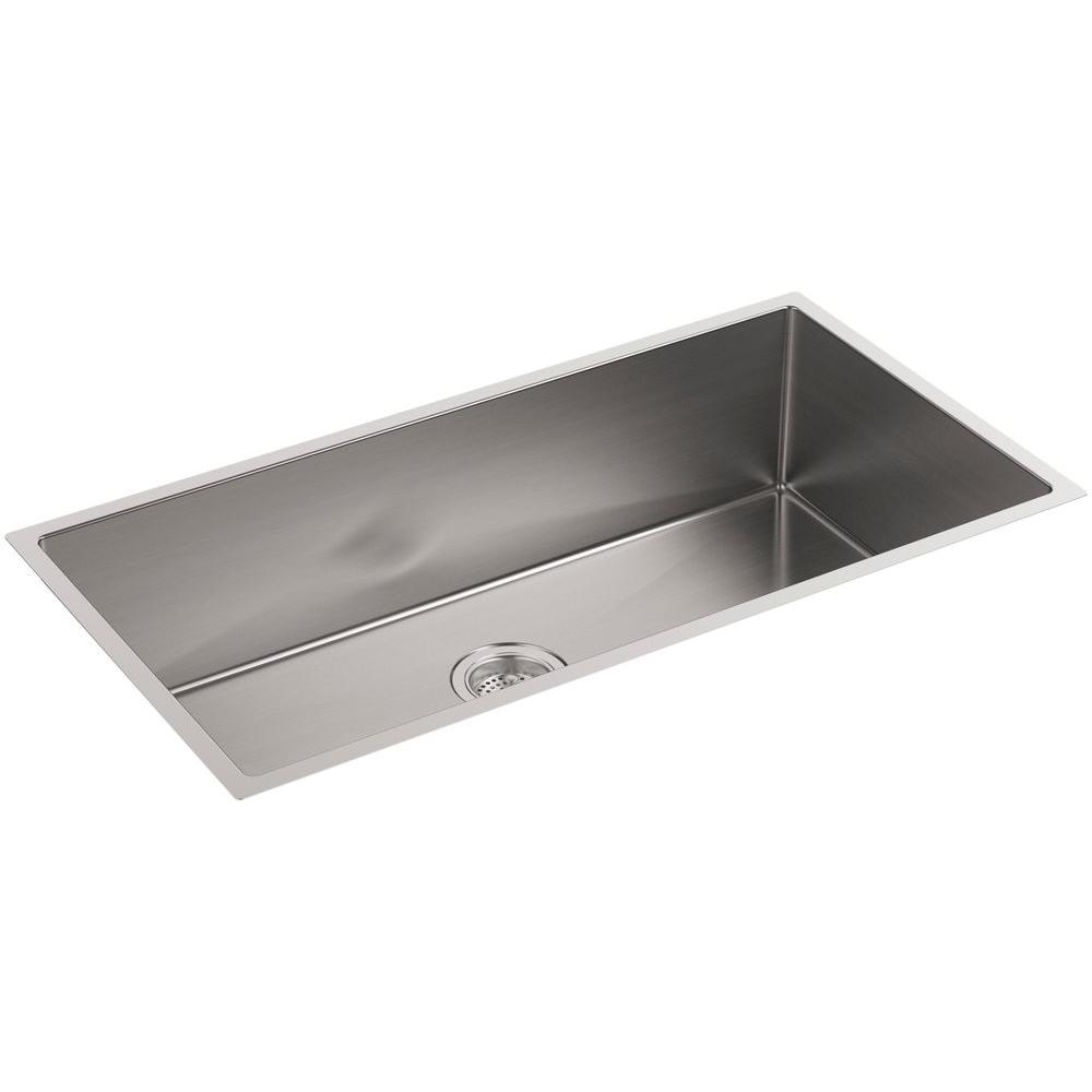 KOHLER Strive Undermount Stainless Steel 35 in. Single Bowl Kitchen Sink  Kit with Included Accessories
