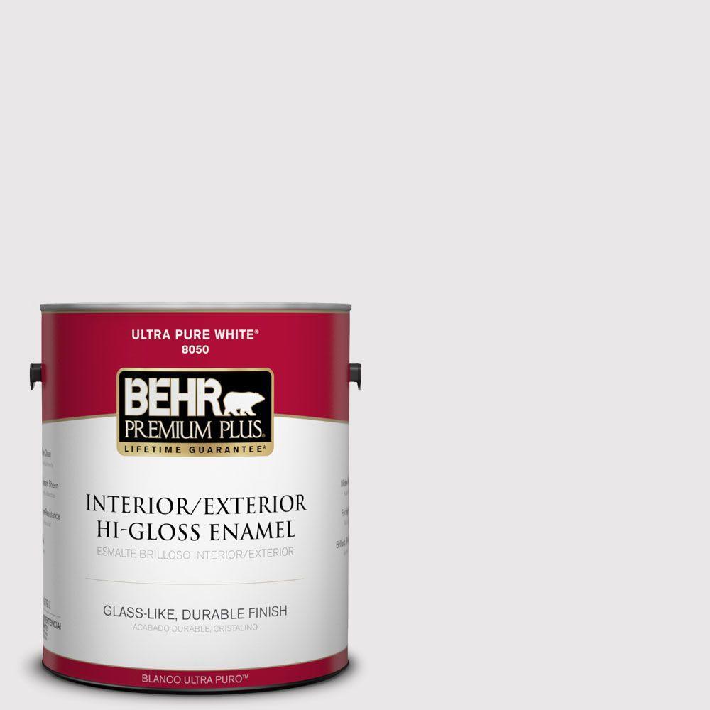 BEHR Premium Plus 1-gal. #PR-W3 Melodic White Hi-Gloss Enamel Interior/Exterior Paint