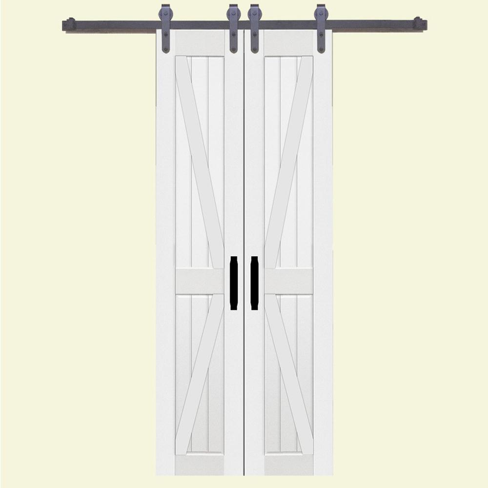 Home Fashion Technologies 36 In X 84 Board And Batten Composite Pvc White Split Sliding Barn Door With Hardware Kit