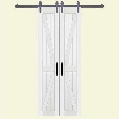 36 in. x 84 in. Board and Batten Composite PVC White Split Barn Door with Sliding Door Hardware Kit