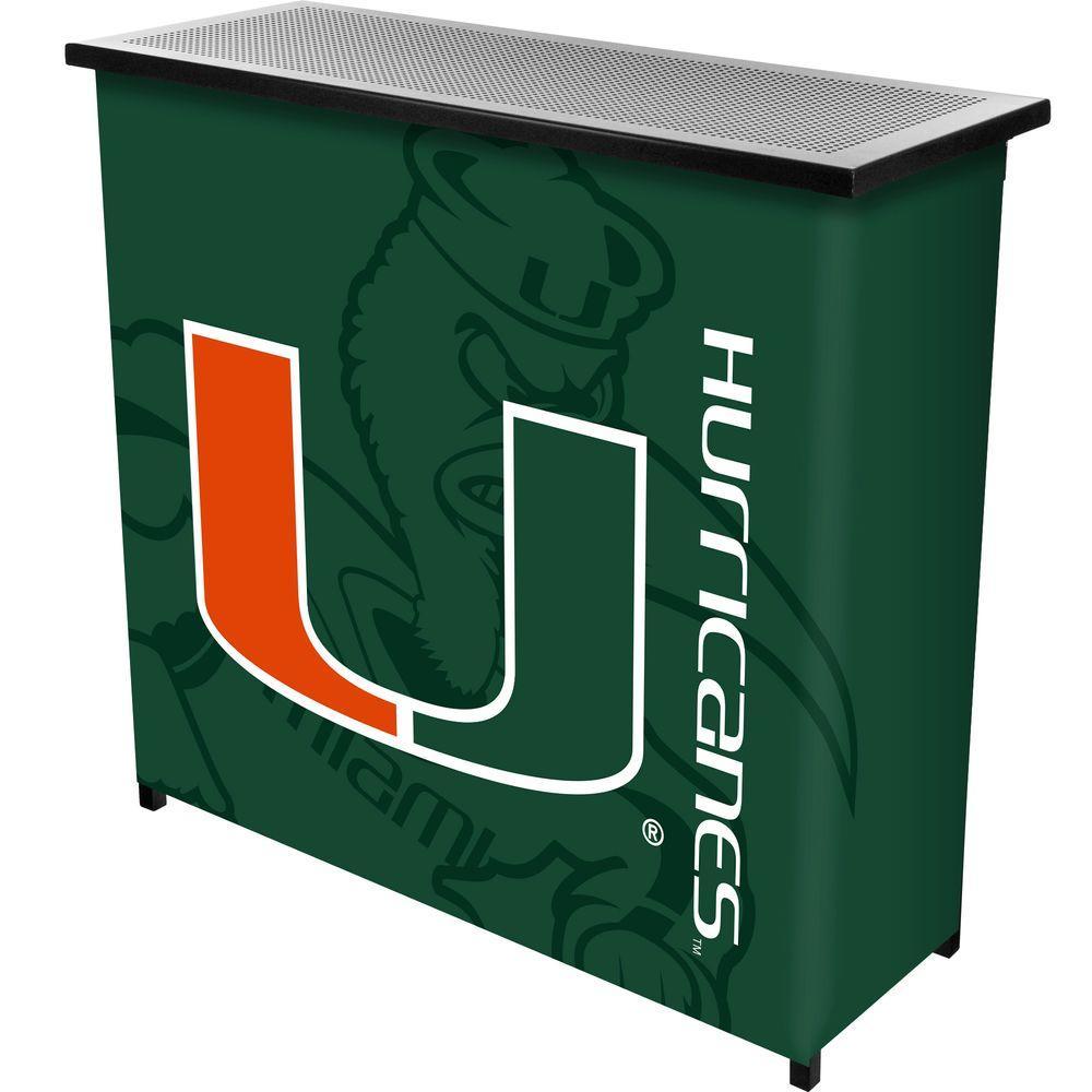 University of Miami Fade 2-Shelf Blue Bar with Case