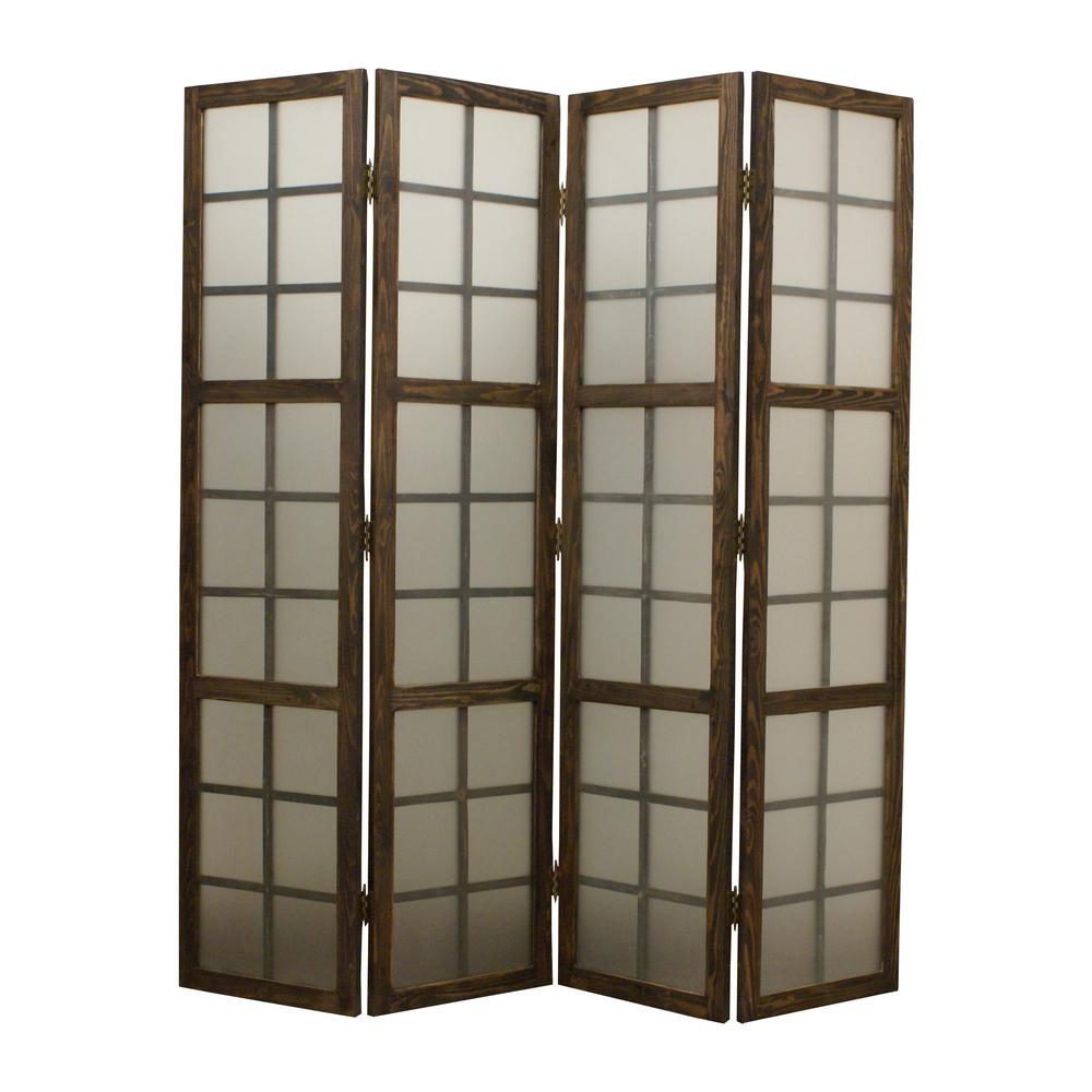 Eglomise 6 ft brown 4 panel room divider sg 189 the for Four panel room divider screen