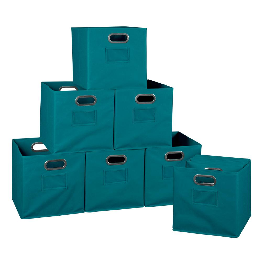Cubo 12 in. x 12 in. Teal Foldable Fabric Bin (12-Pack)
