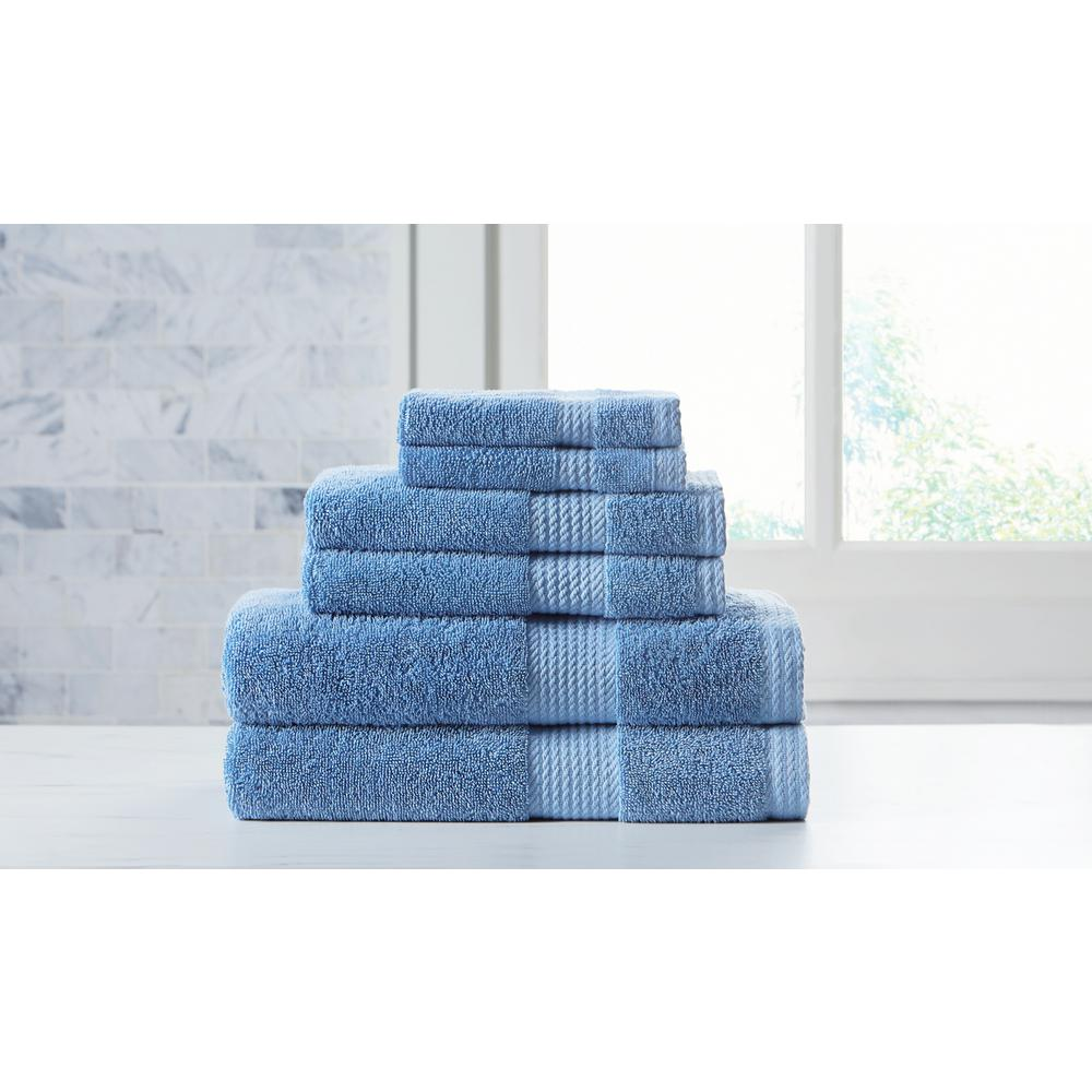 Extravagant Blue Towel Set with Silvadur Antibacterial Material (6-Piece)