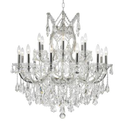 Maria Theresa 19-Light Polished Chrome Chandelier with Clear Crystal