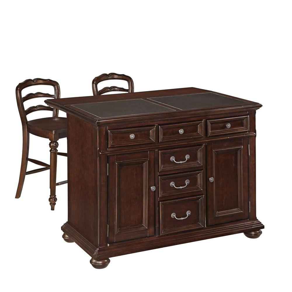 Home Styles Colonial Classic Dark Cherry Kitchen Island With  Seating 5528 948G   The Home Depot