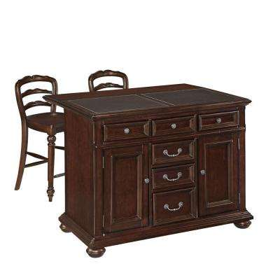 Colonial Classic Dark Cherry Kitchen Island With Seating