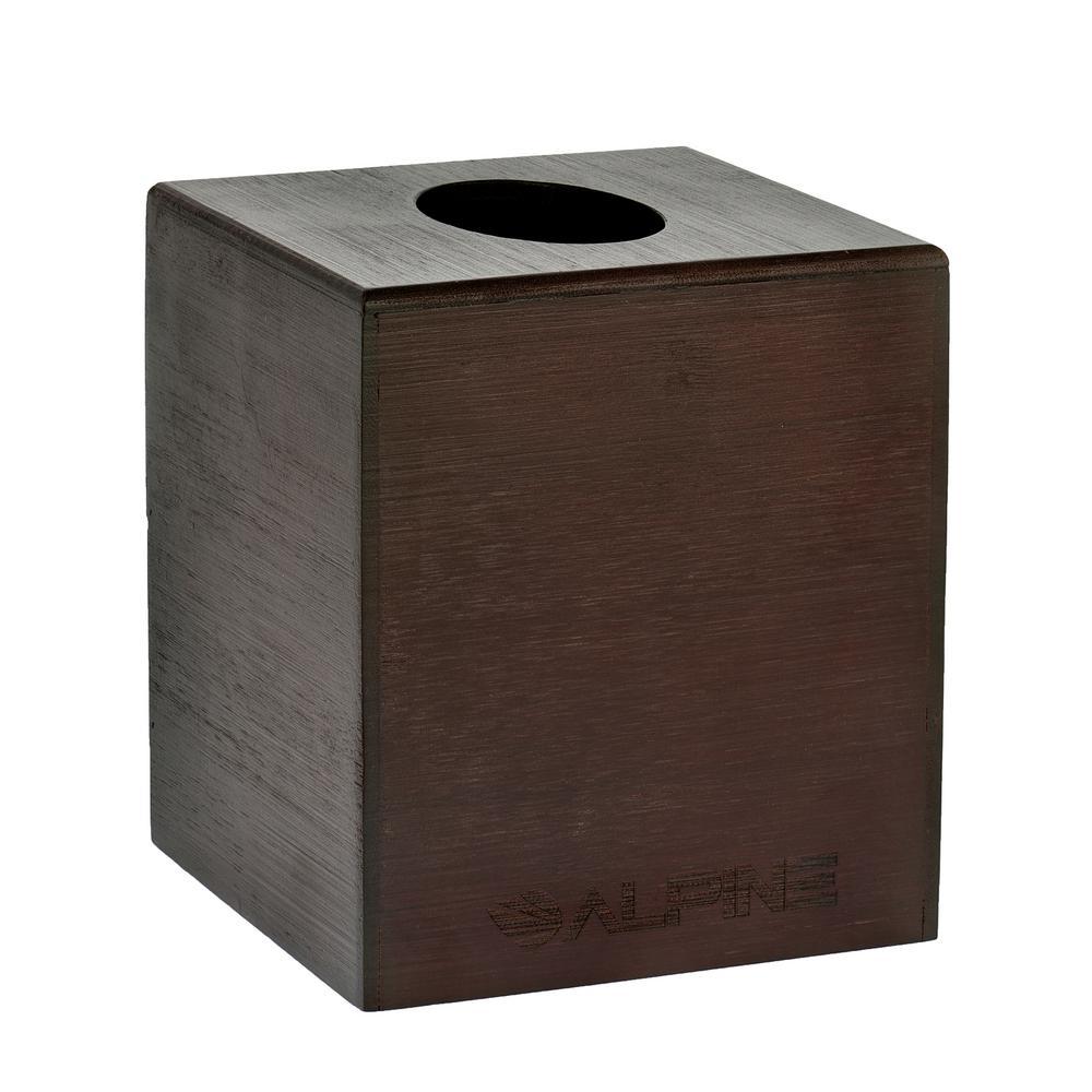 Square Cube Wood Tissue Box Cover Holder in Espresso