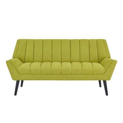 Rochelle Apple Green Mid Century Modern Arm Sofa in Plush Low-Pile Velvet