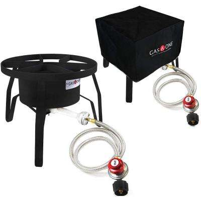 65,000 BTU High Pressure Single Propane Burner Outdoor Cooker with Weather Proof Cover
