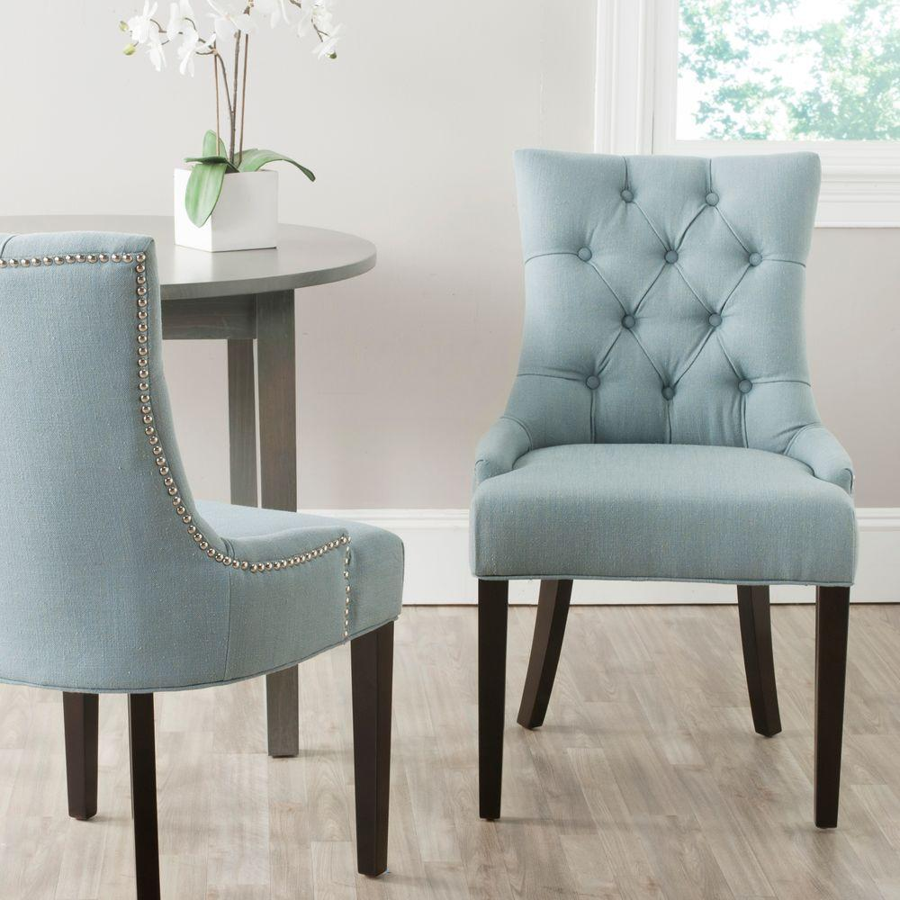 Light blue dining chairs - Safavieh Abby Sky Blue Linen Blend Side Chair Set Of 2