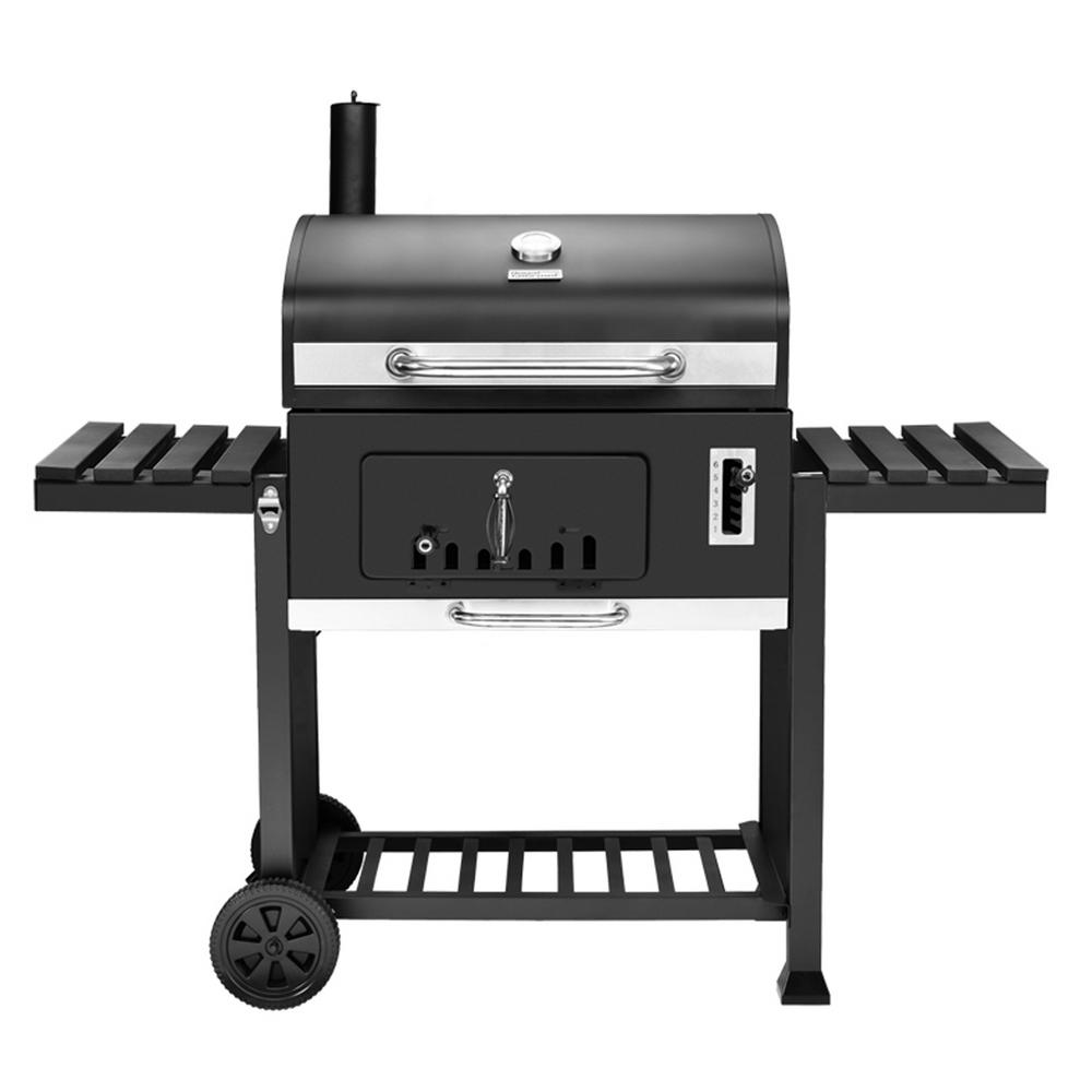 Royal Gourmet 750 sq. in. Heavy-Duty Charcoal Grill in Black with 2 Foldable Side Tables