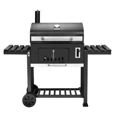 750 sq. in. Heavy-Duty Charcoal Grill in Black with 2 Foldable Side Tables