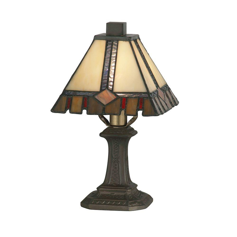 10.75 in. Castle Cut Antique Bronze Accent Lamp